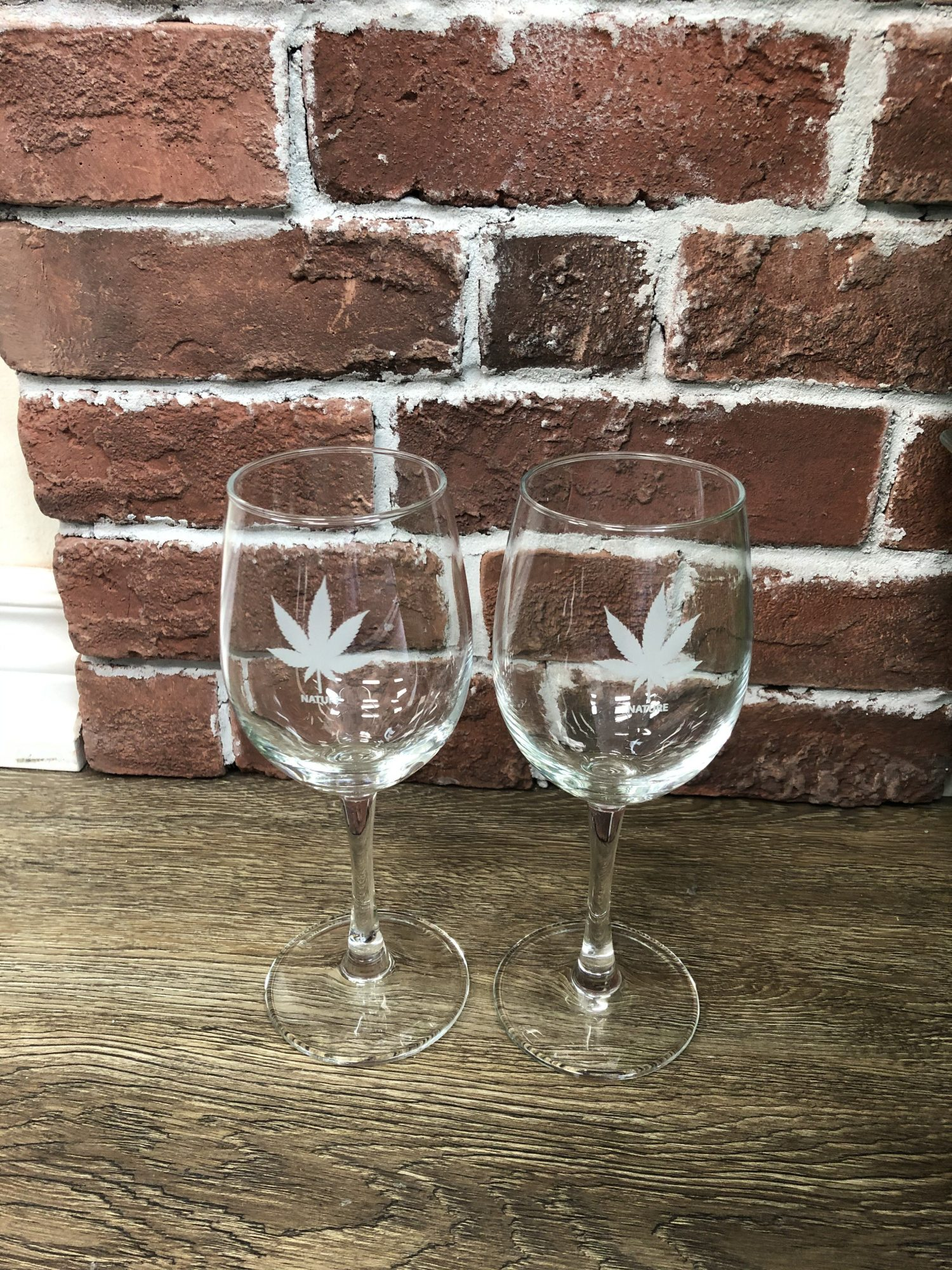 Classic cannabis-themed wine glasses